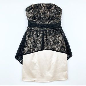 Guess Strapless Dress Black Lace Gold Layered 4